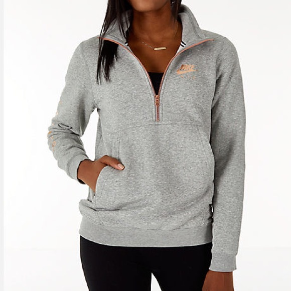 NWT Nike Air Half Zip Pullover Grey + Rose Gold NWT
